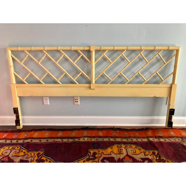 Henry Link Chippendale Yellow Bamboo King Size Headboard - Image 7 of 7