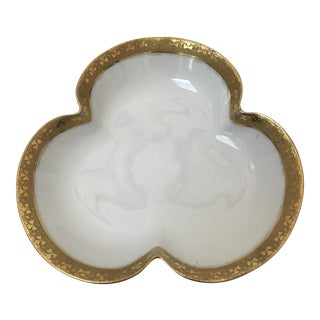 White and Gold Limoges Clover Bowl