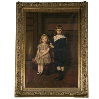 Oil on Canvas Portrait of 2 Children