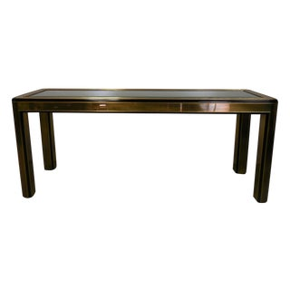 Mastercraft Brass Console Table With Glass Top