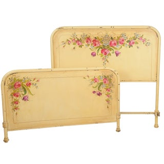 French Girl's Bed With Hand Painted Flower Garland