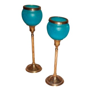 Blue Glass & Brass Hollywood Regency Candle Sticks - A Pair