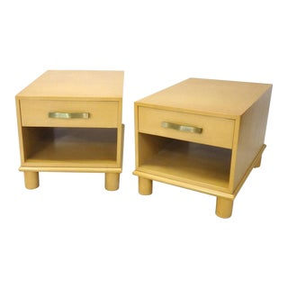 Pickled Blonde Finish Mid-century Side Tables