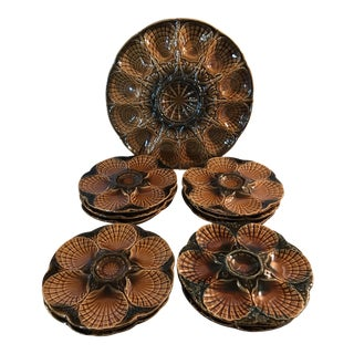 11 French Sarreguemines Majolica Oyster Plates - a Set