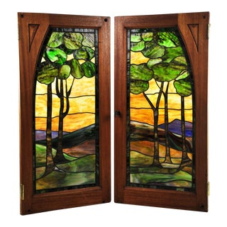 Vintage Stained Glass Windows - A Pair