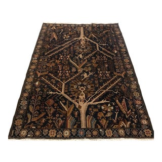 "Antique Tree and Animal Design Turkish Rug - 4'7"" X 6'5"""