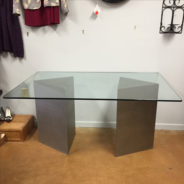 Geometric Silver & Glass Top Modern Dining Table - Image 2 of 8