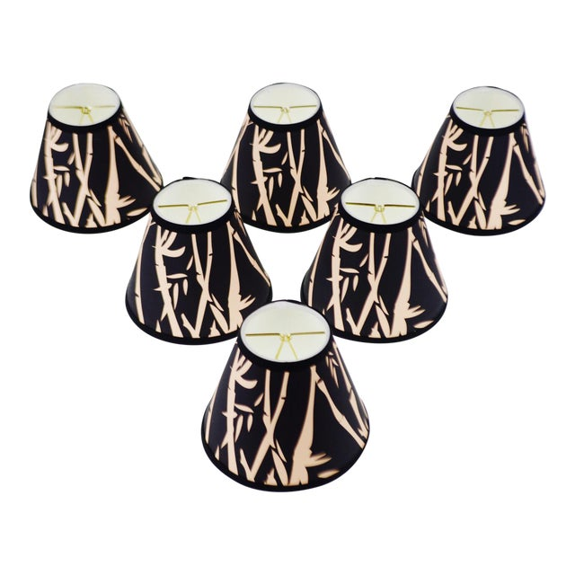 Black & Tan Bamboo Design Chandelier Shades - Set of 6 - Image 1 of 7
