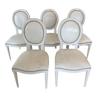 Oly Tyler White Croc Stamped Leather & Nickel Nailhead Trim Dining Chairs - Set of 5