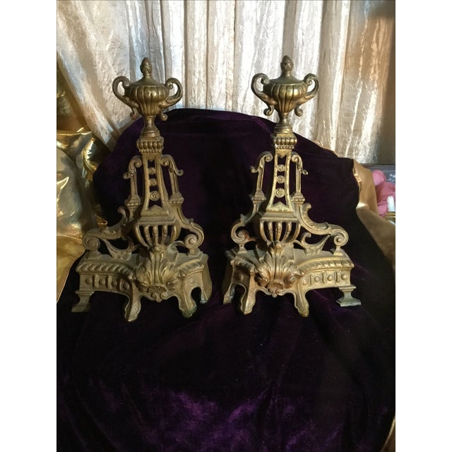 Image of Antique Andiron Set
