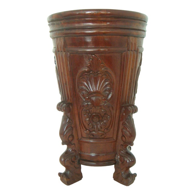 Carved Umbrella Stand With Stylised Birds and Shells - Image 1 of 5