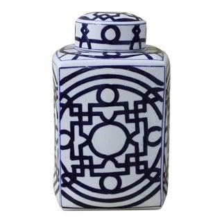 Blue & White Geometric Square Jar