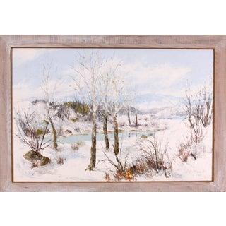 Mid-Century Winter River Landscape