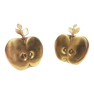 Mid-Century Brass Half Apples - A Pair