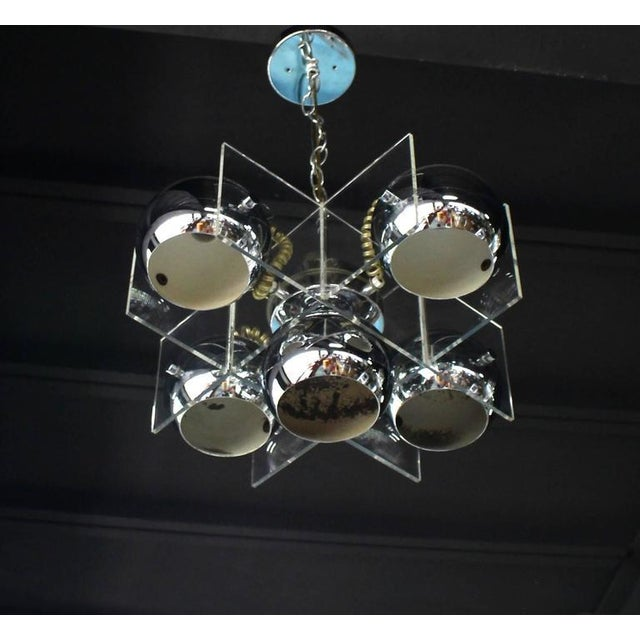 Lucite and Chrome Domes Mid-Century Modern Light Fixture - Image 6 of 7