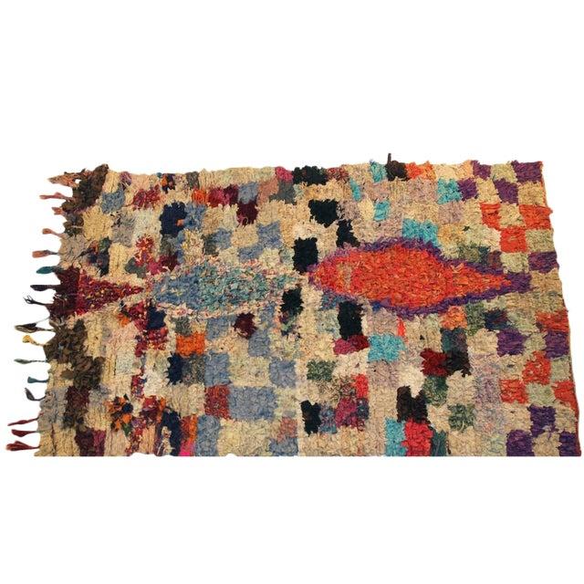 "Vintage Boucherouite Moroccan Carpet - 6'5"" X 4'' - Image 1 of 3"