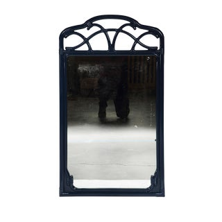 Navy Faux-Bamboo Mirror