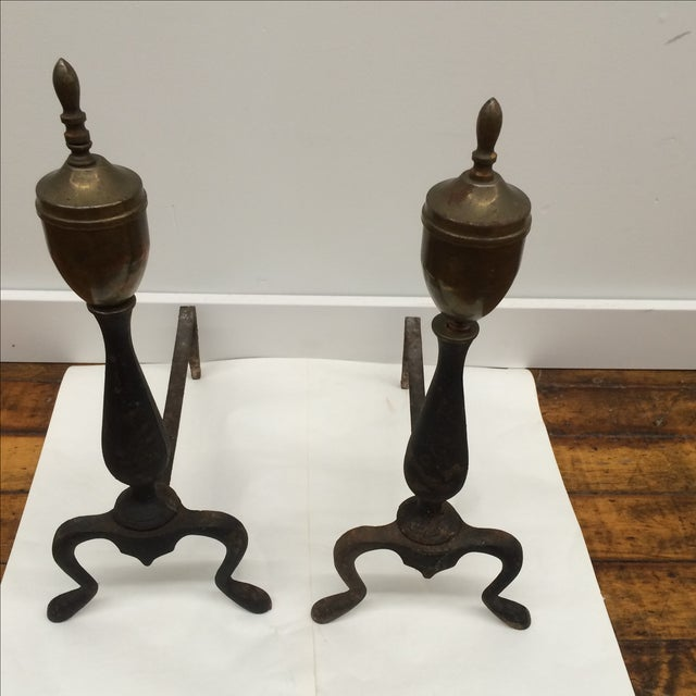 Petite Iron & Brass Andirons - A Pair - Image 2 of 5