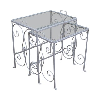 Salterini Style Vintage Iron Nesting Patio Tray Tables - A Pair