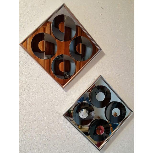 Image of 1970s Vintage Hal Bienenfeld Op Art Mirrors - a Pair