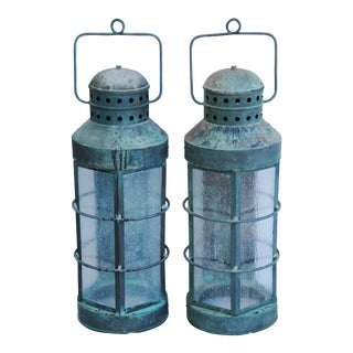 Nautical Copper Lantern Wall Sconces- A Pair