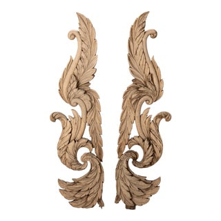 Hand-Carved Bleached Wood Architectural Elements - A Pair