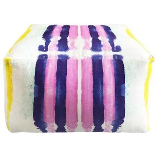 Pink & Blue Striped Pouf