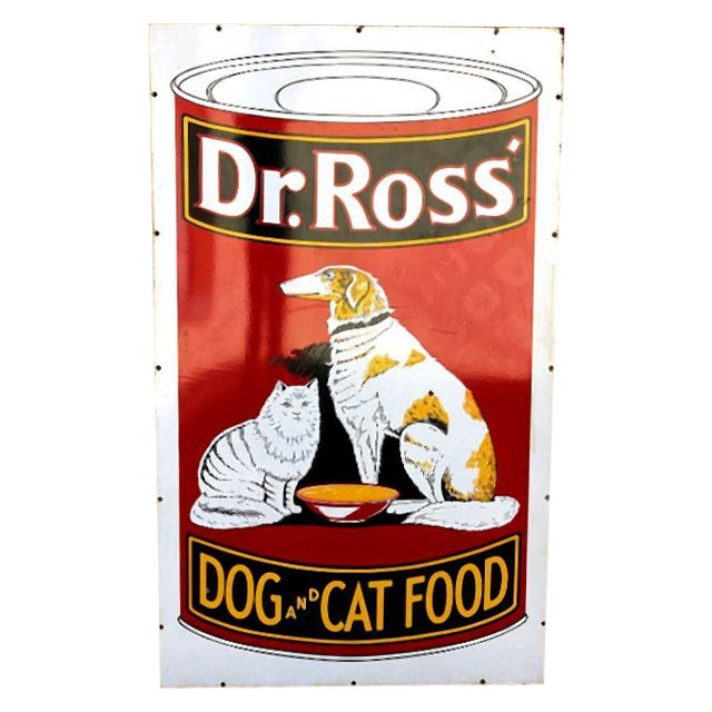 Image of Large Vintage Dr. Ross Dog and Cat Food Sign
