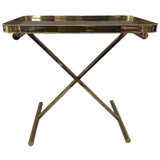 Ralph Lauren Black Lacquer Smoked Glass Tray Table