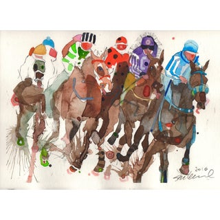 "Steve Klinkel ""The Race"" Watercolor Painting"