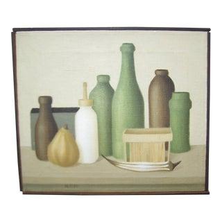 Mid-Century Green Bottles Still Life Painting