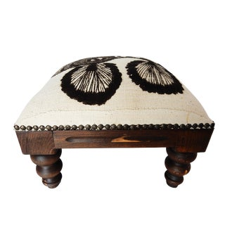 White & Black Mud Cloth Footstool