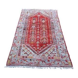 """Early 20th C. Vintage Tribal Antique Turkish Oushak Hand Knotted Rug - 3'8"""" X 6'4"""""""