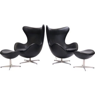 Pair of Arne Jacobsen Egg Chairs & Ottomans by Fritz Hansen