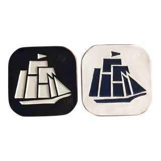 Black & White Ship Motif Kitchen Tiles - A Pair