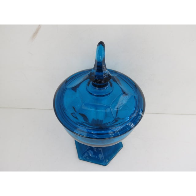 Image of Mid-Century Peacock Blue Candy Jar