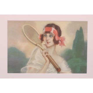 French Art Deco Tennis Beauty Red Bow