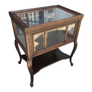 Victorian Oak & Glass Display Case
