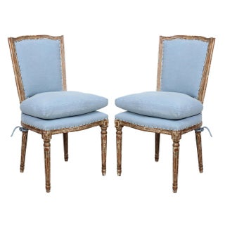 Spectra Home Shabby Chic French Carved Wood Dining Chairs - A Pair
