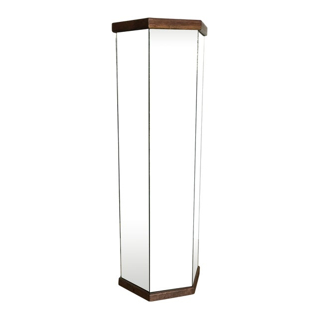Mid-Century Modern Mirror and Wood Podium - Image 1 of 3