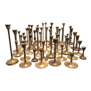 Brass Candlestick Collection - Set of 49