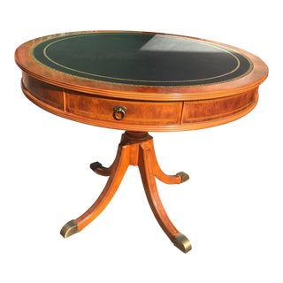 Drum Table with Leather Top
