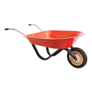 Vintage Rustic Metal Child's Red Wheelbarrow