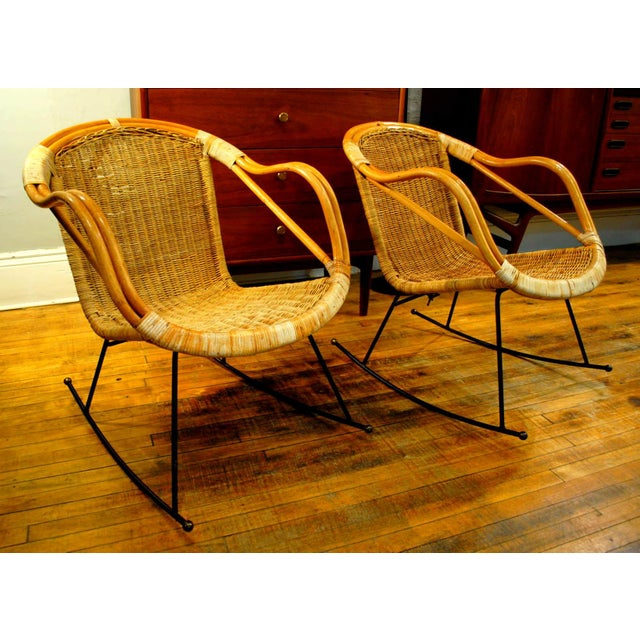 Midcentury Rattan and Wicker Rockers- A Pair - Image 3 of 11