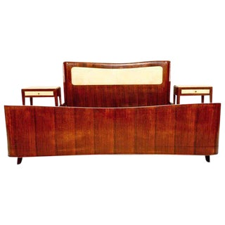 Mid-Century Modern Italian Queen Bed & Nightstands with Parchment and Walnut
