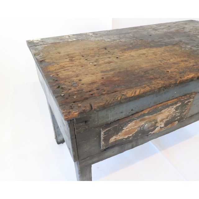 Rustic Wood Work Table - Image 4 of 8