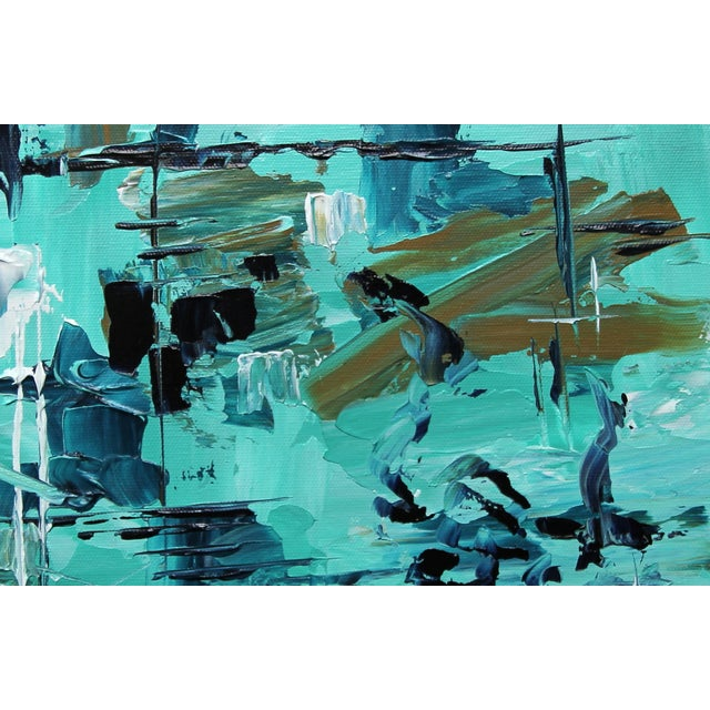 """Reason Askew"" Aqua Painting by Celeste Plowden - Image 2 of 2"