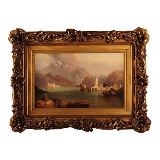 Lake Como Italy circa 1810s Exquisite Oil painting on board by Clarkson Stanfield