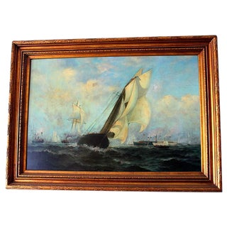 Vintage Great Maritime Sailing Scene Painting