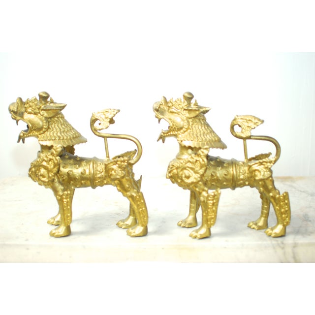 Brass Foo Dogs With Gilt Finish - A Pair - Image 4 of 6